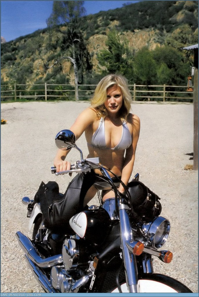 Katee Sackhoff on motorcycle
