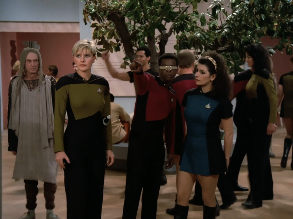 Deanna Troi wearing a skirt uniform