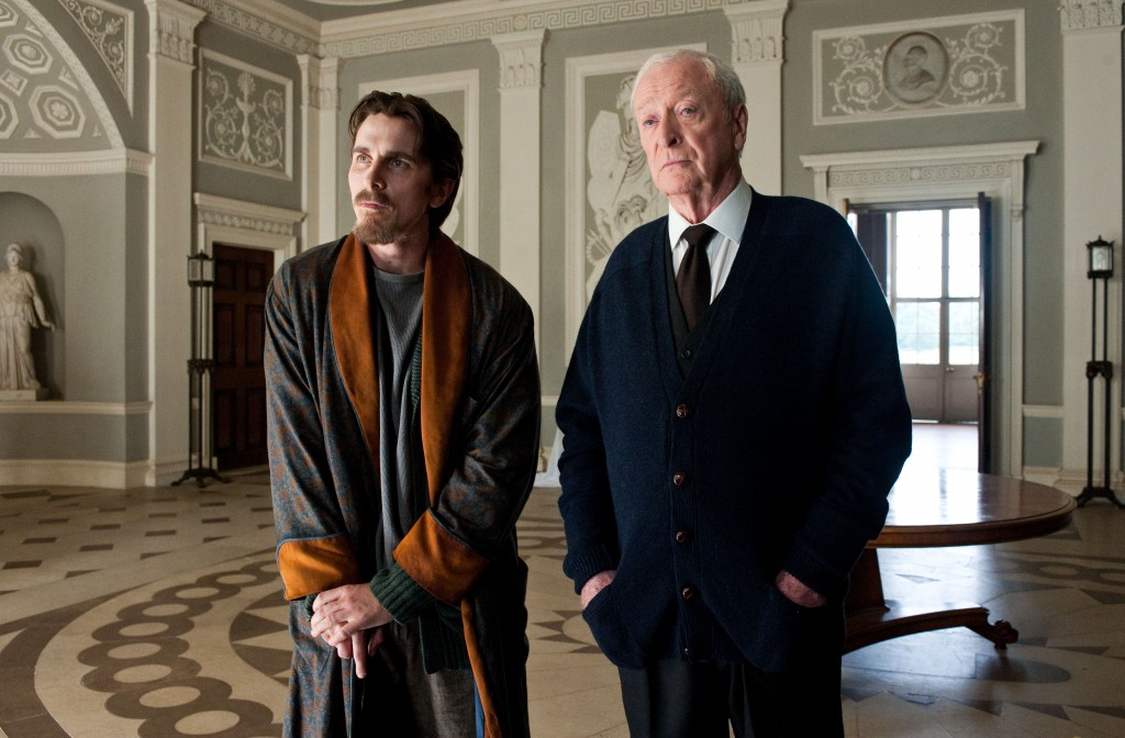 Christian Bale as Bruce Wayne and Michael Caine as Alfred in The Dark Knight Rises