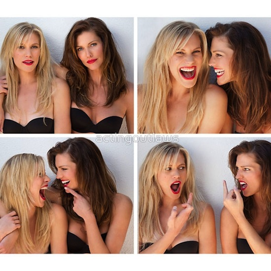 Tricia Helfer and Katee Sackhoff having fun for Acting Outlaws Calendar