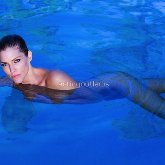 Tricia Helfer swimming nude for Acting Outlaws