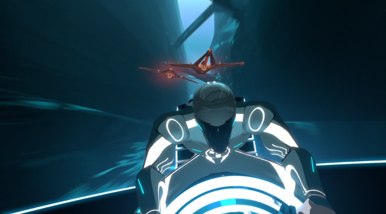Beck as the Renegade being pursued - Terminal - Terminal - Tron: Uprising