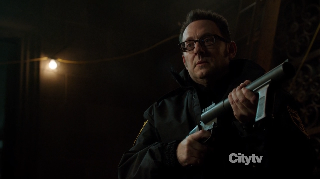 Michael Emerson as Harold Finch dressed as a cop - Person of Interest