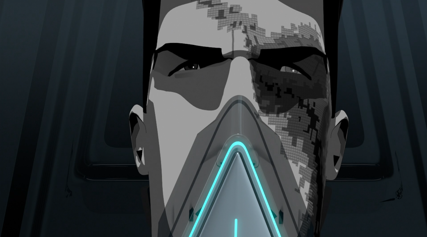 Tron with virus scars - Terminal- Terminal - Tron: Uprising