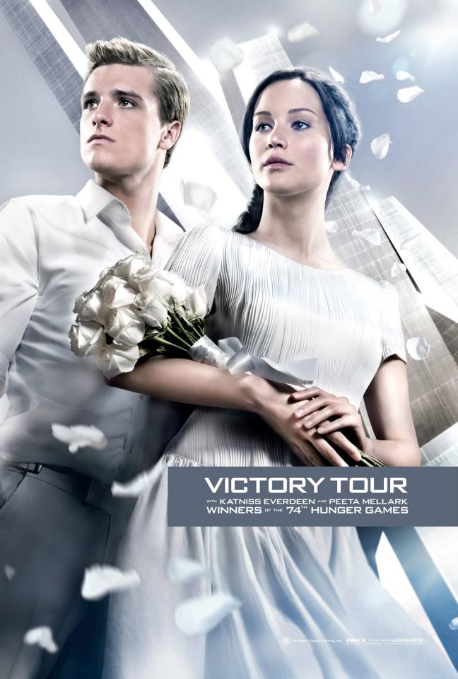 The Hunger Games: Catching Fire victory poster with Jennifer Lawrence as Katniss and Josh Hutcherson as Peeta