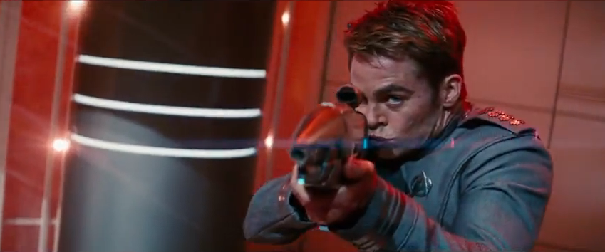 Chris Pine shooting guns in Star Trek