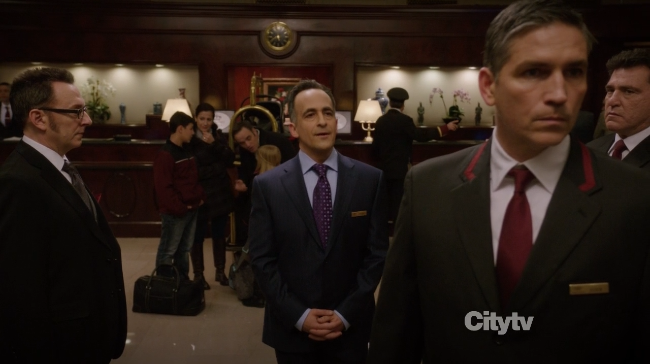 Mr Reese (Jim Caviezel) and Finch check the foyer- Person of Interest - Booked Solid