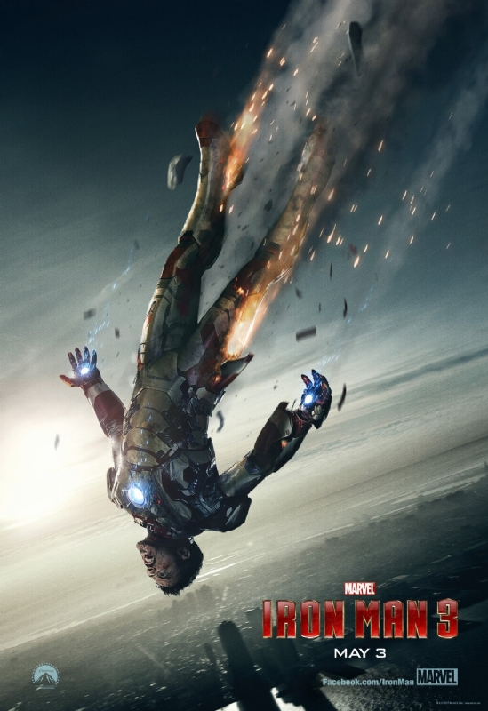 Robert Downey Jr. as Tony Stark (Iron Man) falling in Iron Man 3