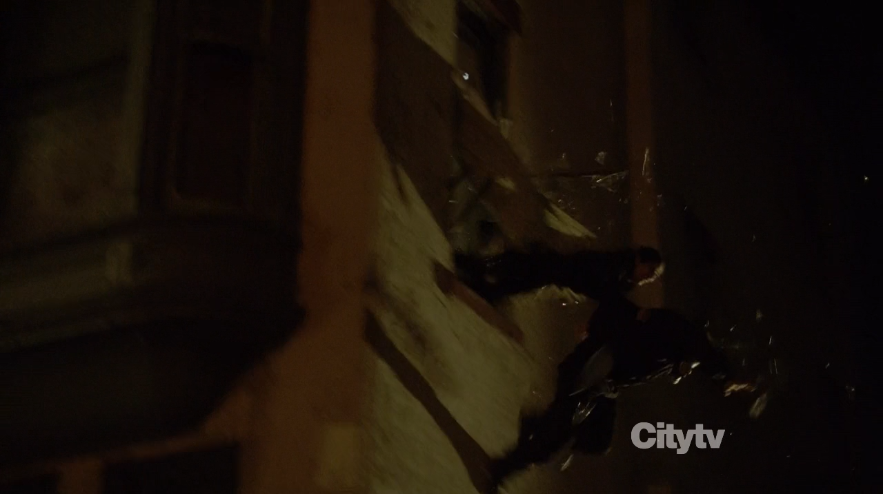 Shaw and Gunman jumping out of window Bourne Identity style - Person of Interest