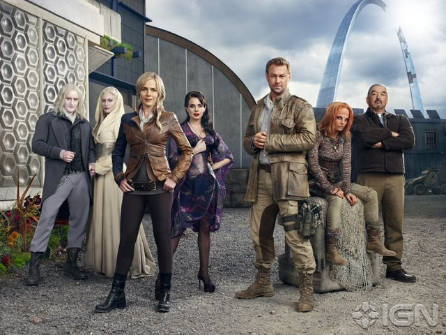 Tony Curran, Jaime Murray, Julie Benz, Mia Kirshner, Grant Bowler, Stephanie Leonidas and Graham Greene in Defiance