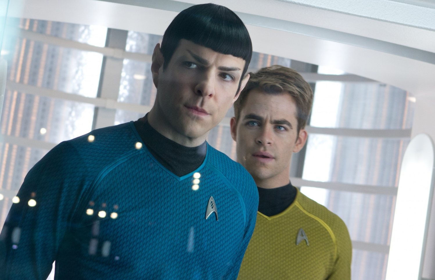 Zachary Quinto as Spock and Chris Pine as Kirk in Star Trek Into Darkness