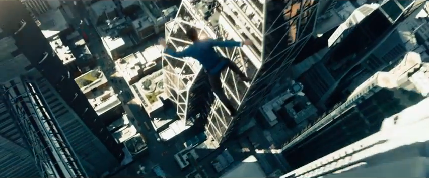 Zachary Quinto as Spock leaping from building