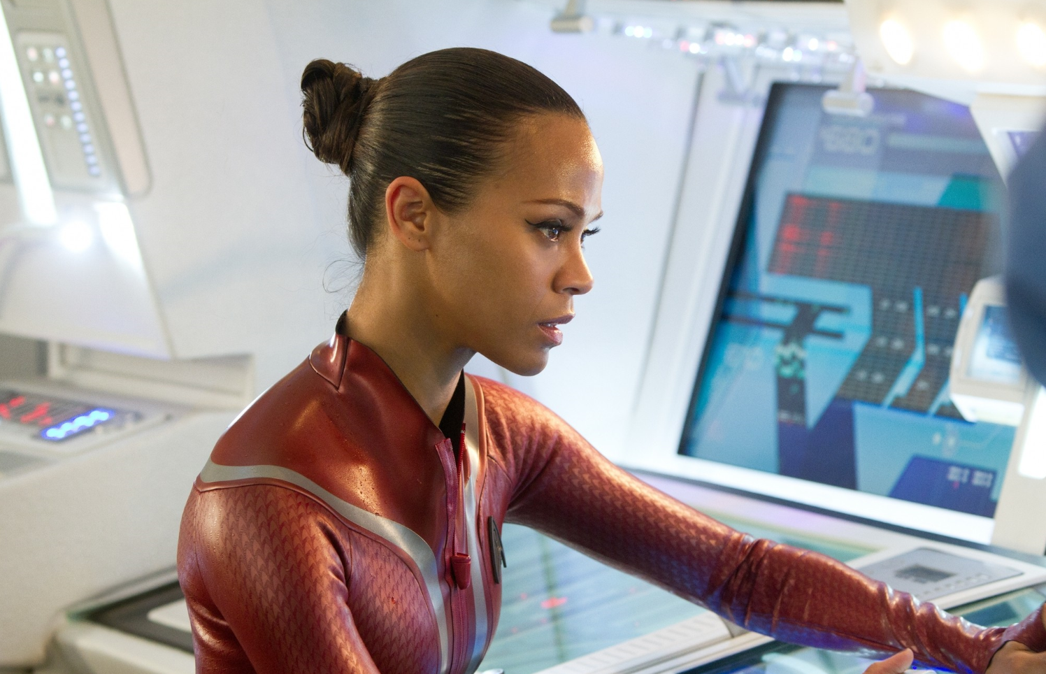 Zoe Saldana as Uhura in wetsuit - Star Trek Into Darkness