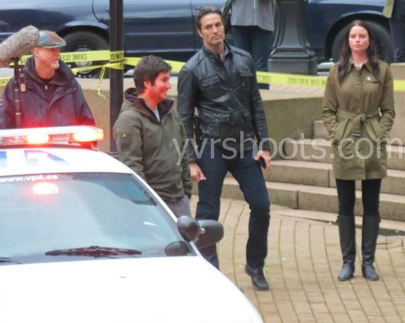 Victor Webster and Rachel Nichols filming Continuum Season 2