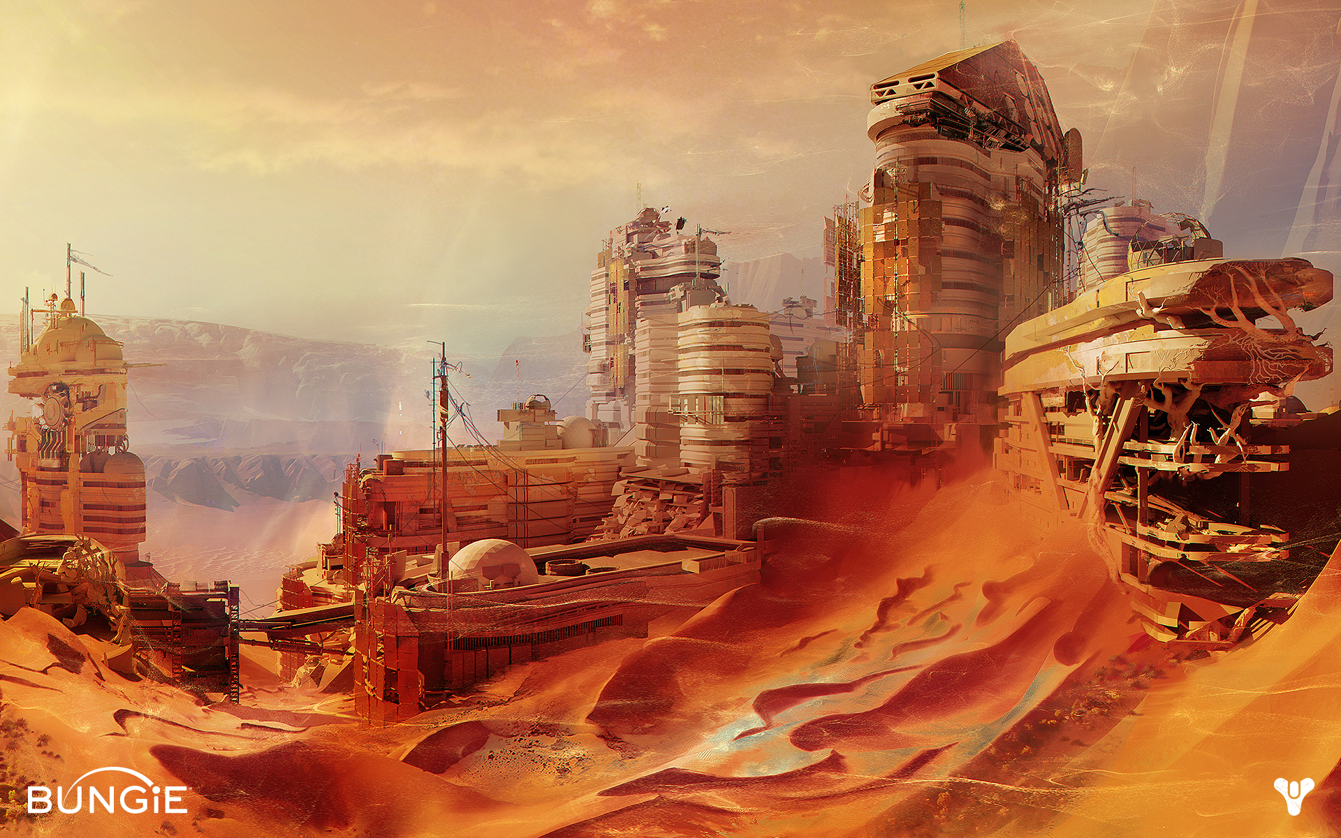 Mars in Bungie's destiny MMO - art work of Destiny
