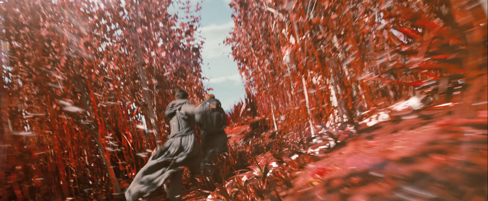Spock and Kirk running through a red forest - Star Trek Into Darkness