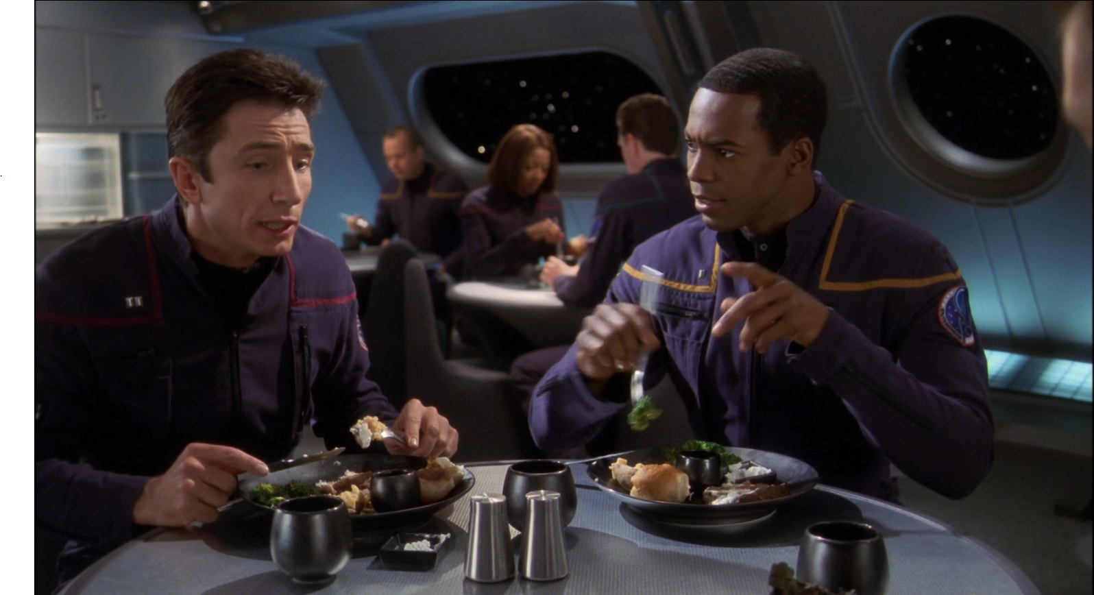 Dominic Keating as Malcom Reed and Anthony Montgomery as Travis Mayweather - Vox Sola - Enterprise Star Trek Enterprise Season 1 Blu-ray Review