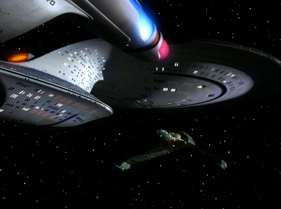 Enterprise and Klingon Bird of Prey - Sins of the Father - Star Trek The Next Generation