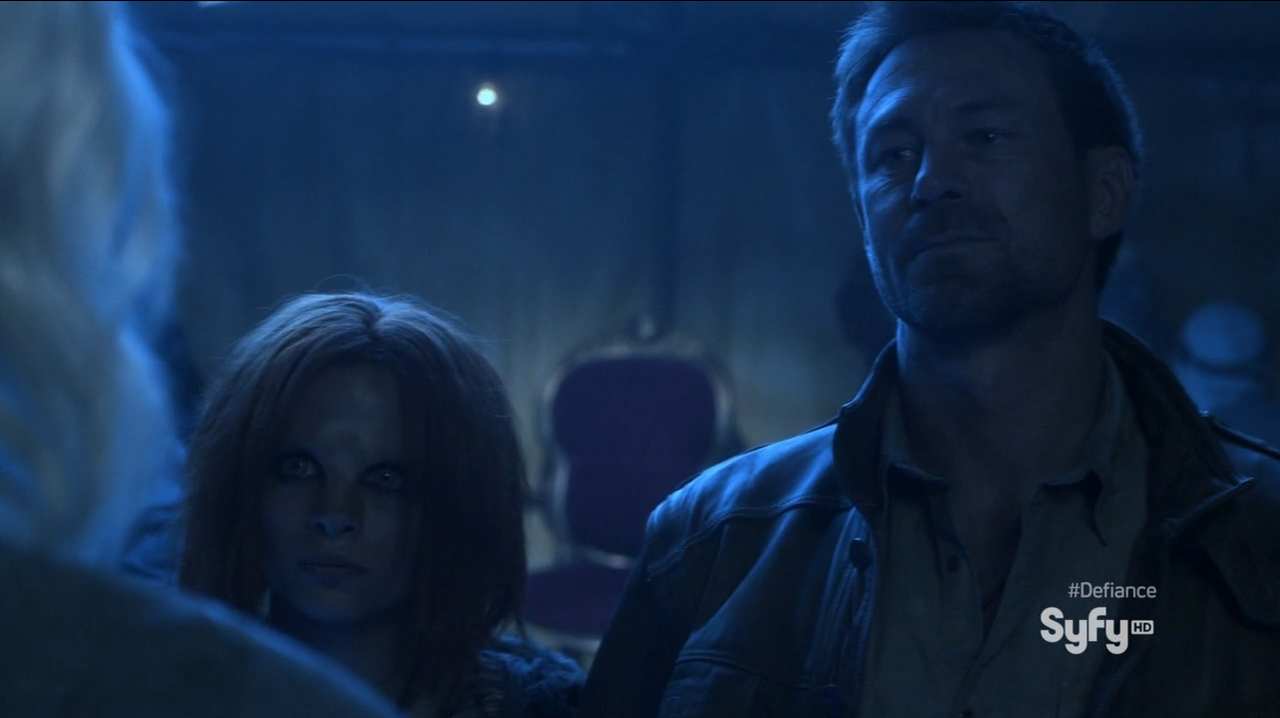Grant Bowler as Joshua Nolan and Stephanie Leonidas as Irisa Nyira - Defiance