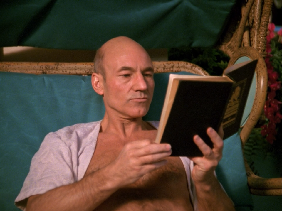 Patrick Stewart as Captain Jean-Luc Picard on Risa - Captain's Holiday - Star Trek The Next Generation