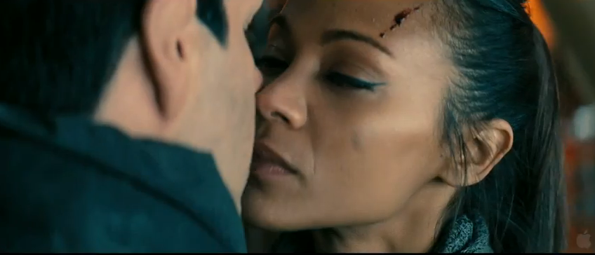Spock (Zachary Quinto) and Uhura (Zoe Saldana) kiss in Star Trek Into Darkness