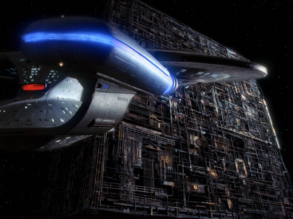The Enterprise and the Borg Cube - The Best of Both Worlds - Star Trek The Next Generation