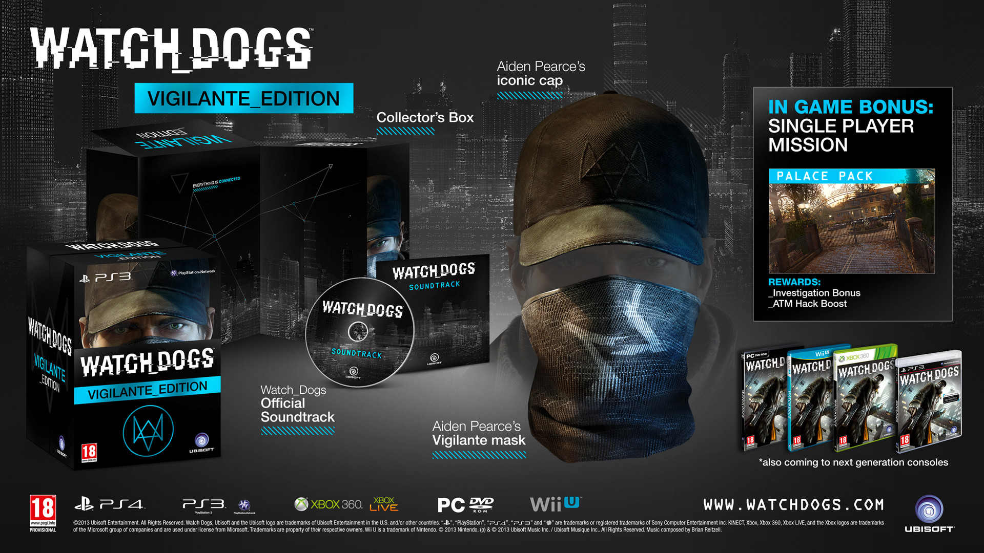 Watch Dogs Vigilante Edition - Aiden Mask and Cap