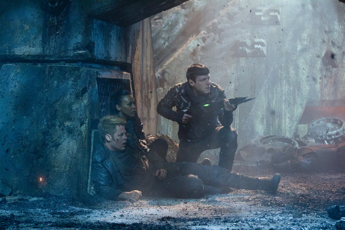 Spock, uhura and Kirk in a firefight