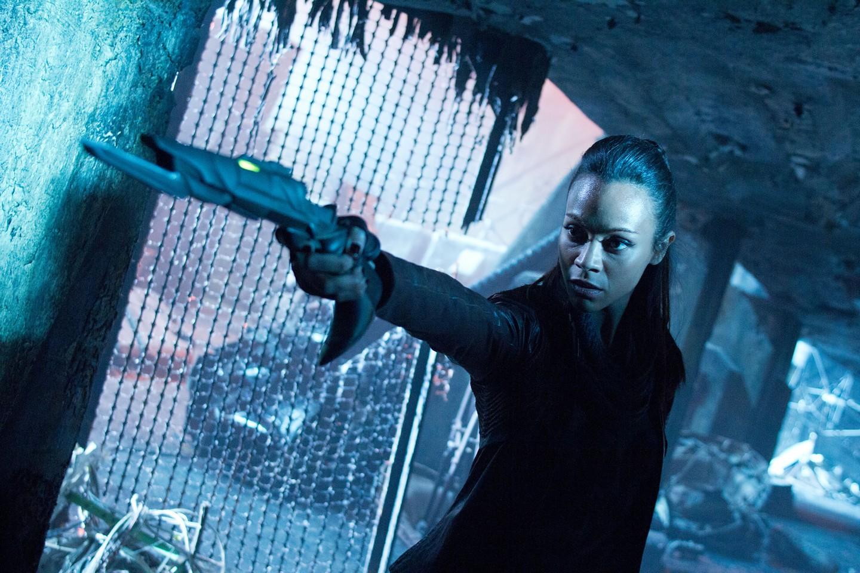 Uhura holding a gun