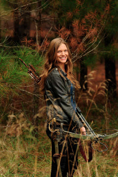 Tracy Spiridakos as Charlie Matheson  with sword and bow 'The Song Remains The Same'