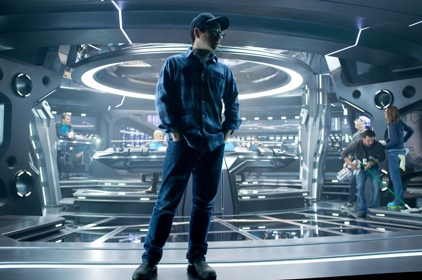 J.J Abrams on the bridge of the Enterprise