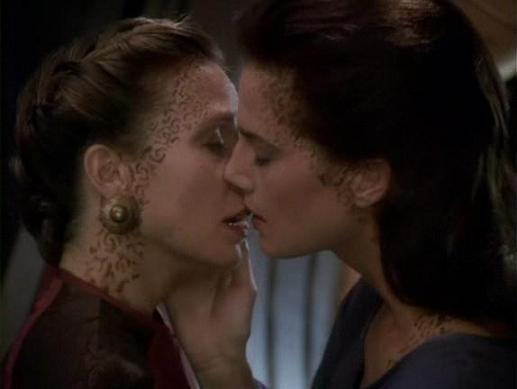 DS9 Jadzia Dax lesbian kiss In 1993 Brookside showed the first lesbian kiss on British TV before the 9pm ...