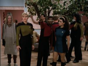 Deanna Troi (Marina Sirtis) wearing a skirt uniform