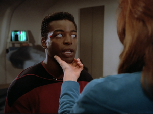 Geordi LaForge without his visor