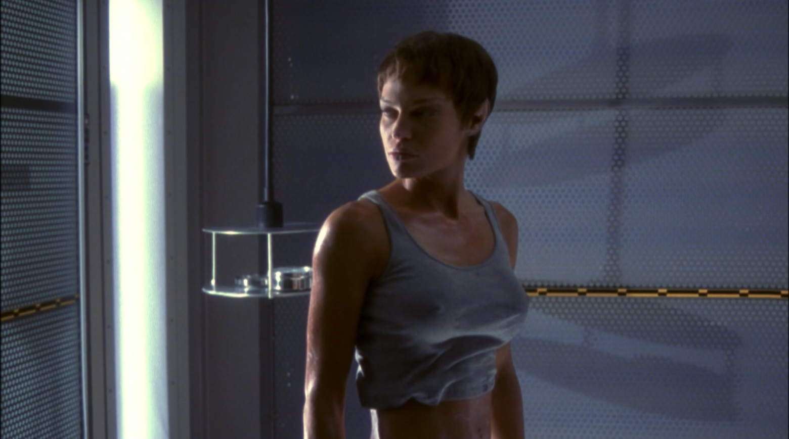 Commander T'pol (Jolene Blalock) ina very tight t-shirt - Enterprise Broken Bow