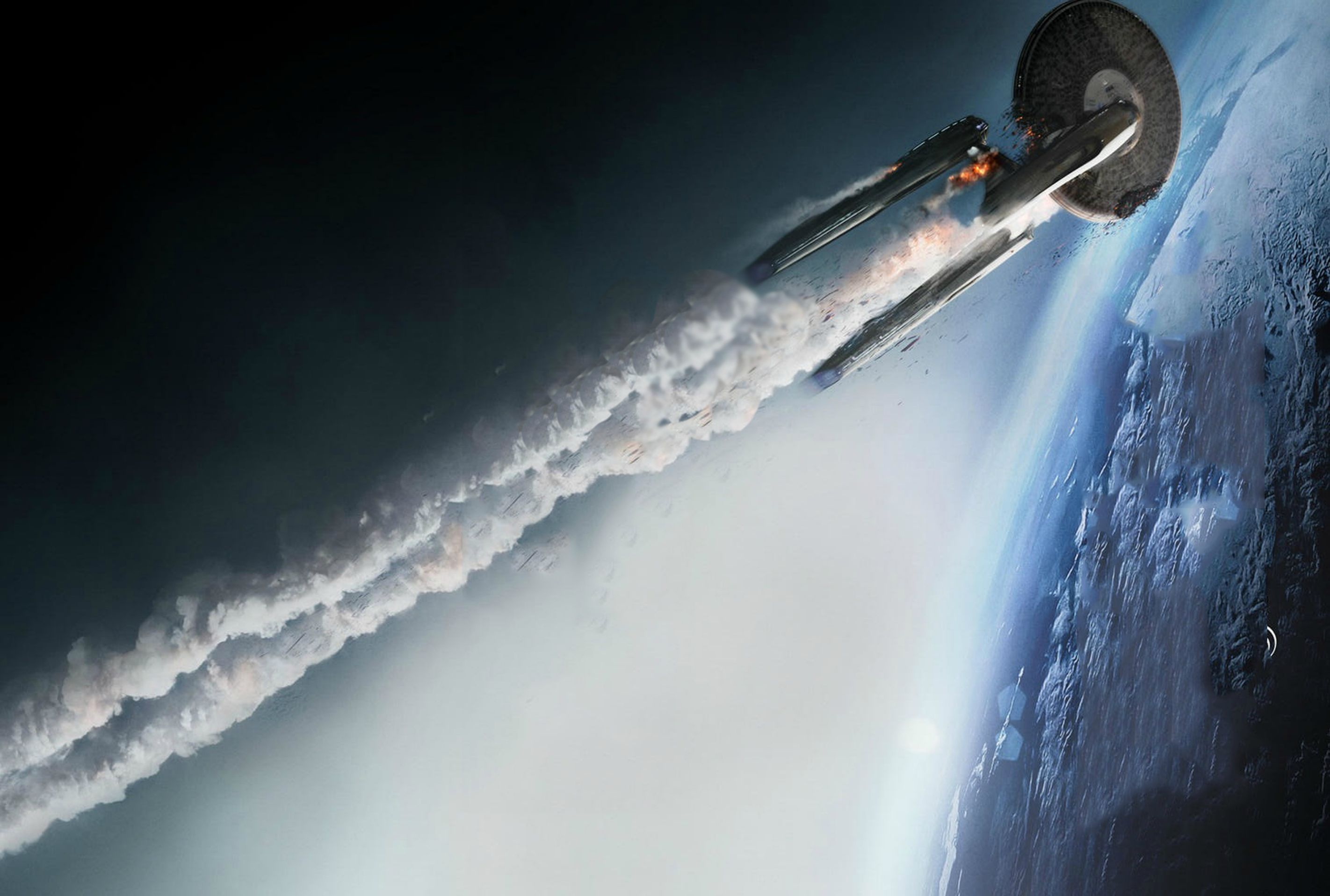 Enterprise crashing Star Trek Into Darkness
