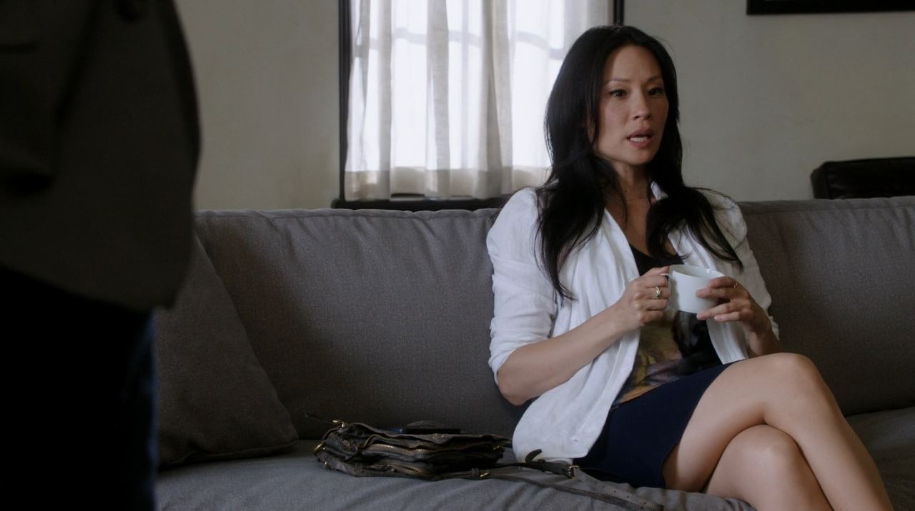 Lucy Liu short skirt as Watson Elementary Step Nine