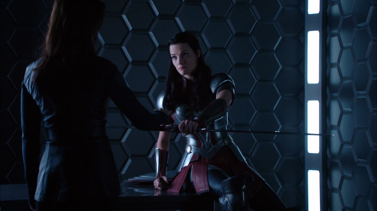 Agents of S.H.I.E.L.D S1Ep15 'Yes Men' - Jaime Alexander as Lady Sif shares her sword with agent May