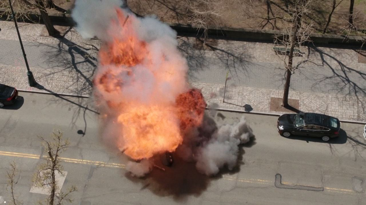 Elementary Season 2 The Grand Experiment Review - Mycroft's car explosion