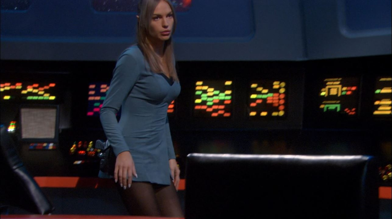 Enterprise season 4 Blu ray review - Jolene Blalock in skirt uniform as T'Pol