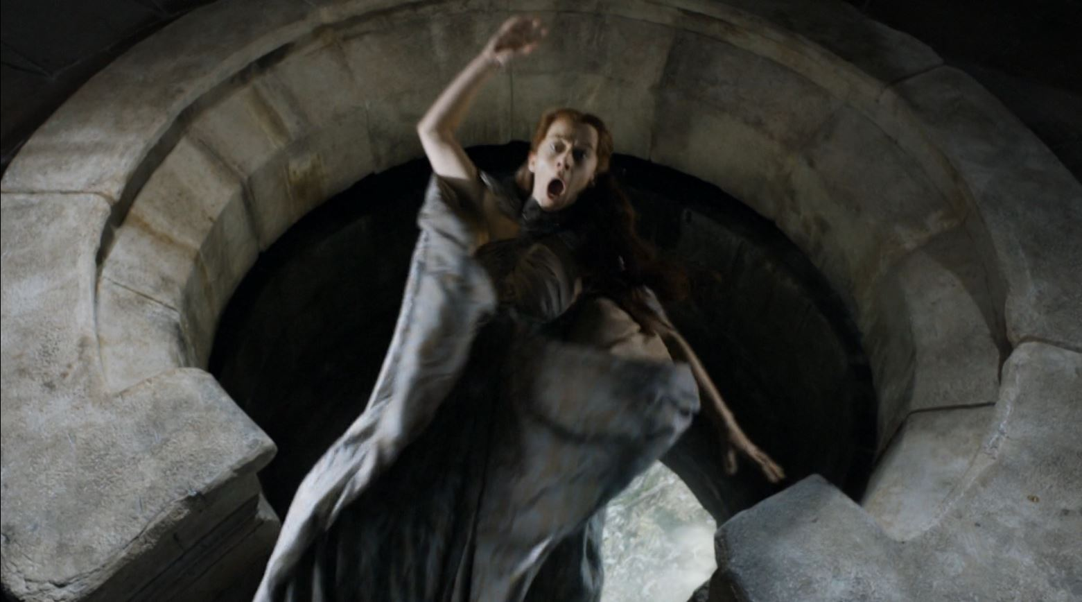 Game Of Thrones S4Ep7 Mockingbird Review - Kate Dickie as Lysa Arryn thrown out of the moon door