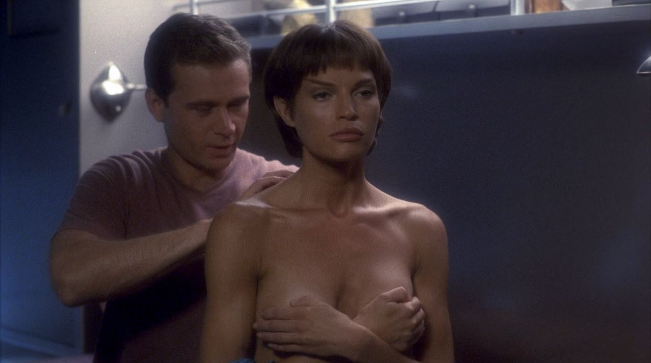 Jolene Blalock holding her boobs - Enterprise T'Pol topless