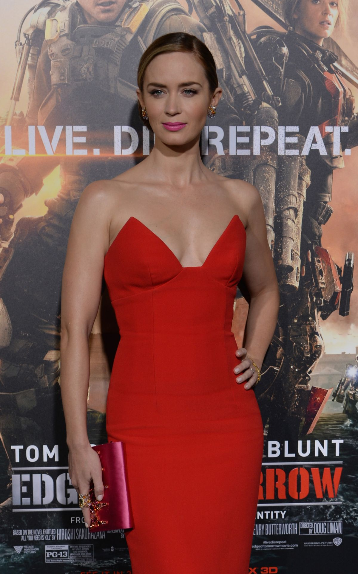 New York Premiere of Edge Of Tomorrow with Emily Blunt in sexy red dress