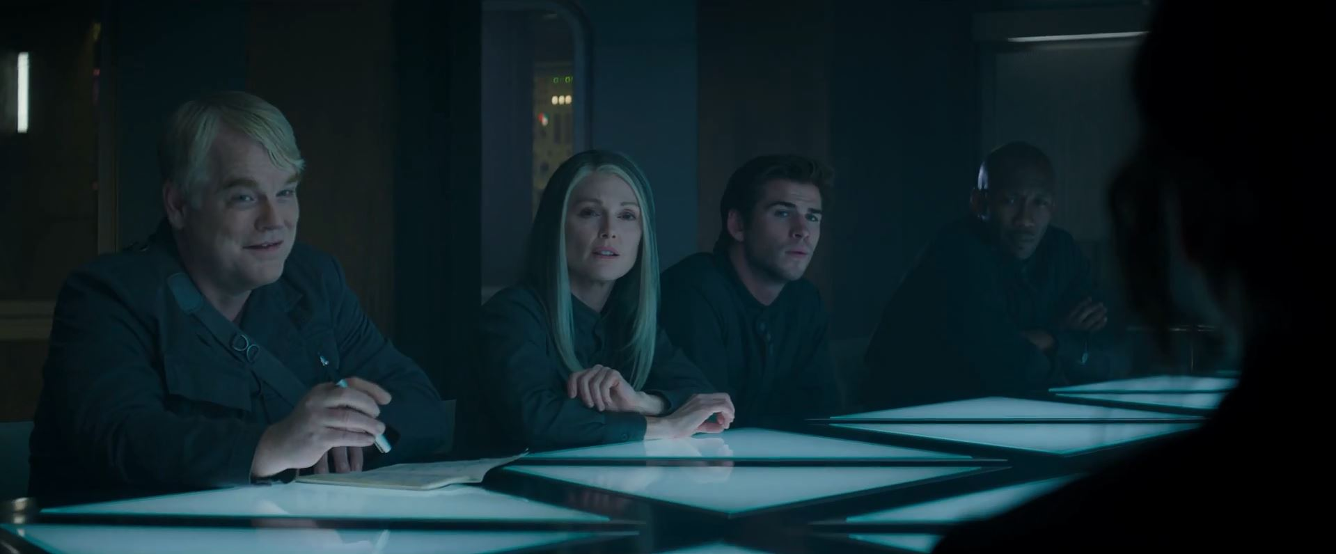 The Hunger Games Mockingjay Part 1 Trailer - Philip Seymour Hoffman as Plutarch Heavensbee and Julianne Moore as President Alma Coin