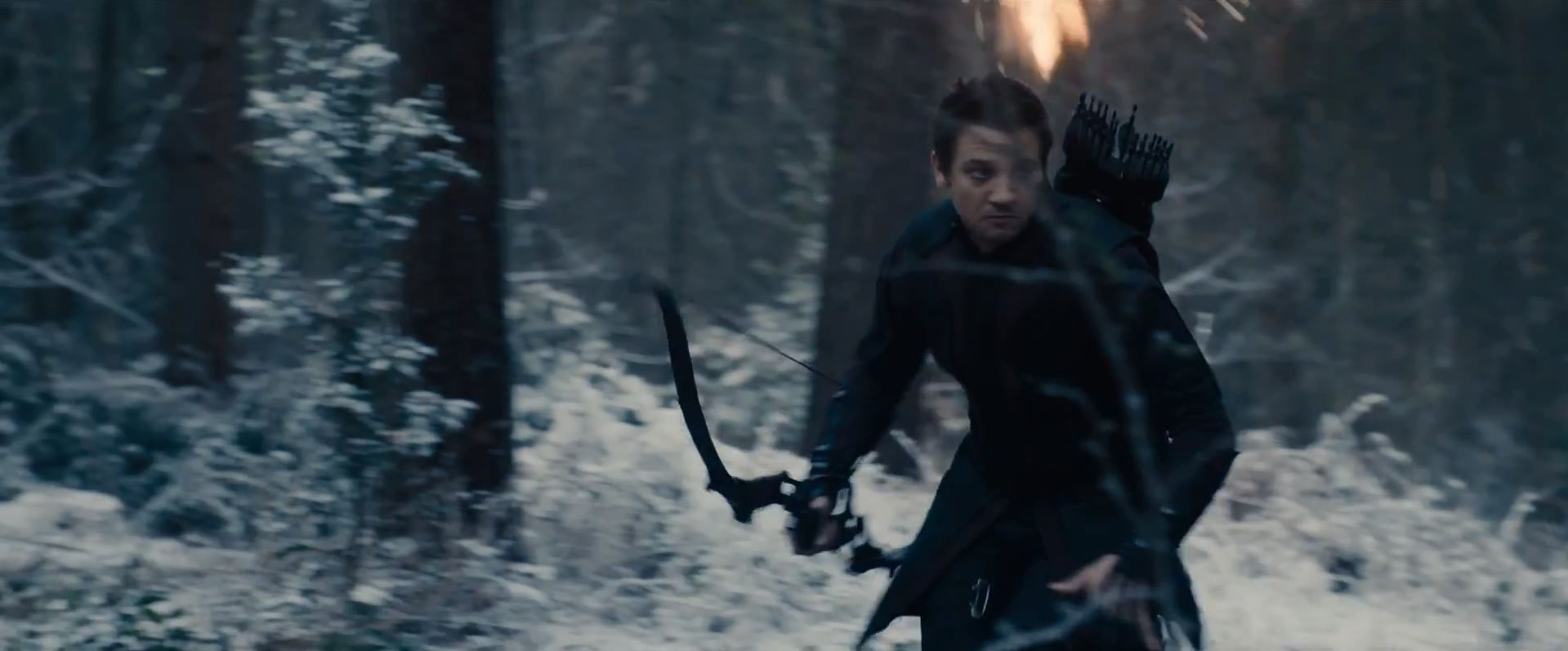 Avengers Age Of Ultron Trailer Released - Jeremy Renner as Hawkey being chased in woods