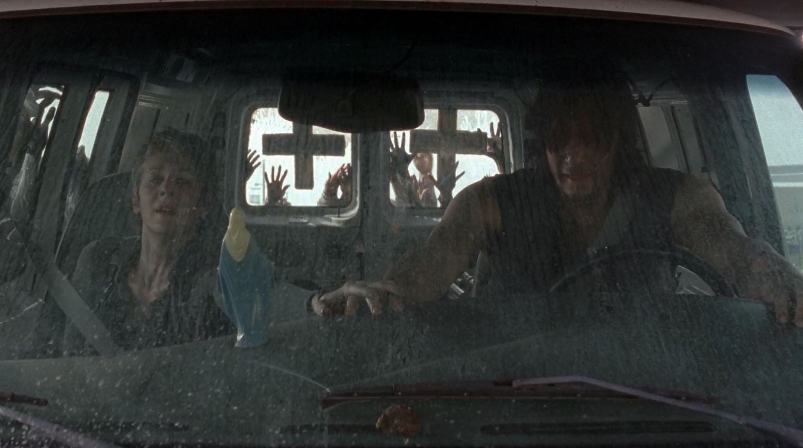 Carol and Daryl (Norman Reedus) about to be pushed over - The Walking Dead S5Ep6 Consumed Review