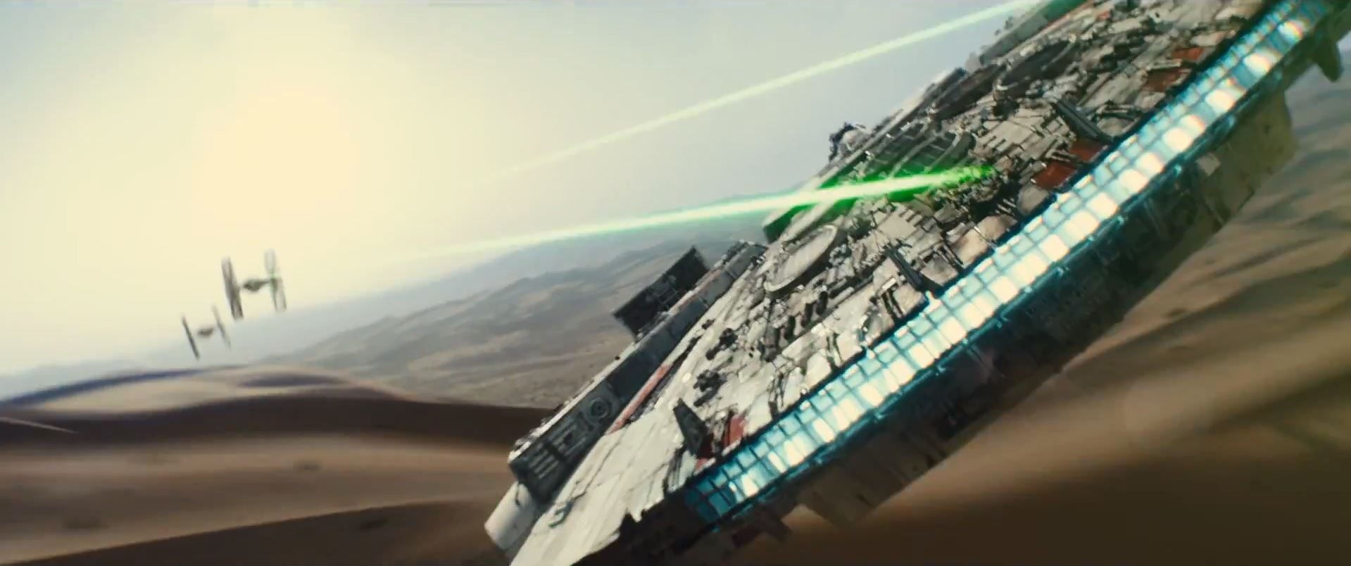 Millenium falcon and two tie fighters - Star Wars Episode 7 trailer released