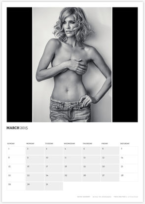 Acting Outlaws 2015 Calendar - Tricia Helfer covering her boobs March