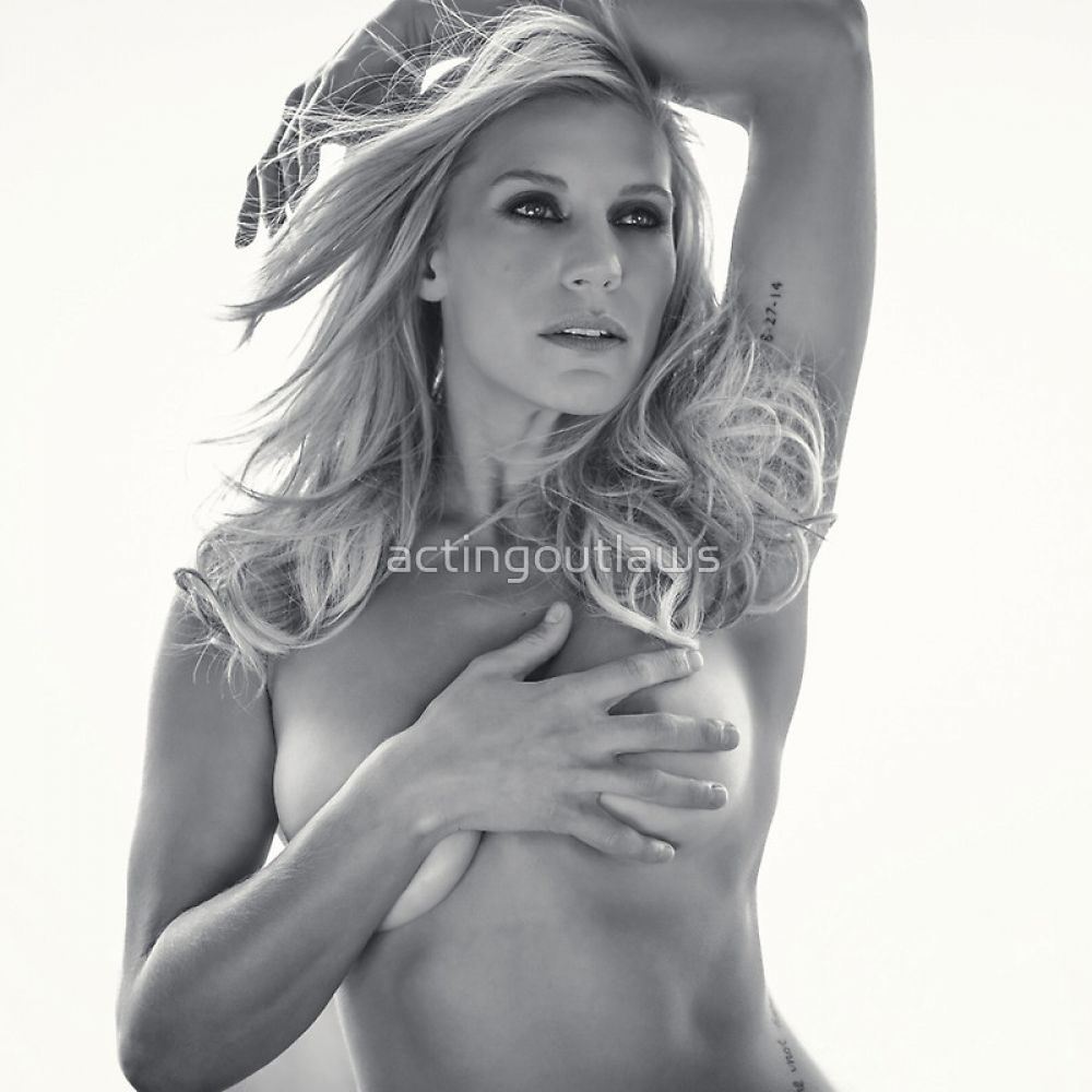 Katee Sackhoff covering boobs in 2015 Acting Outlaws Calendar