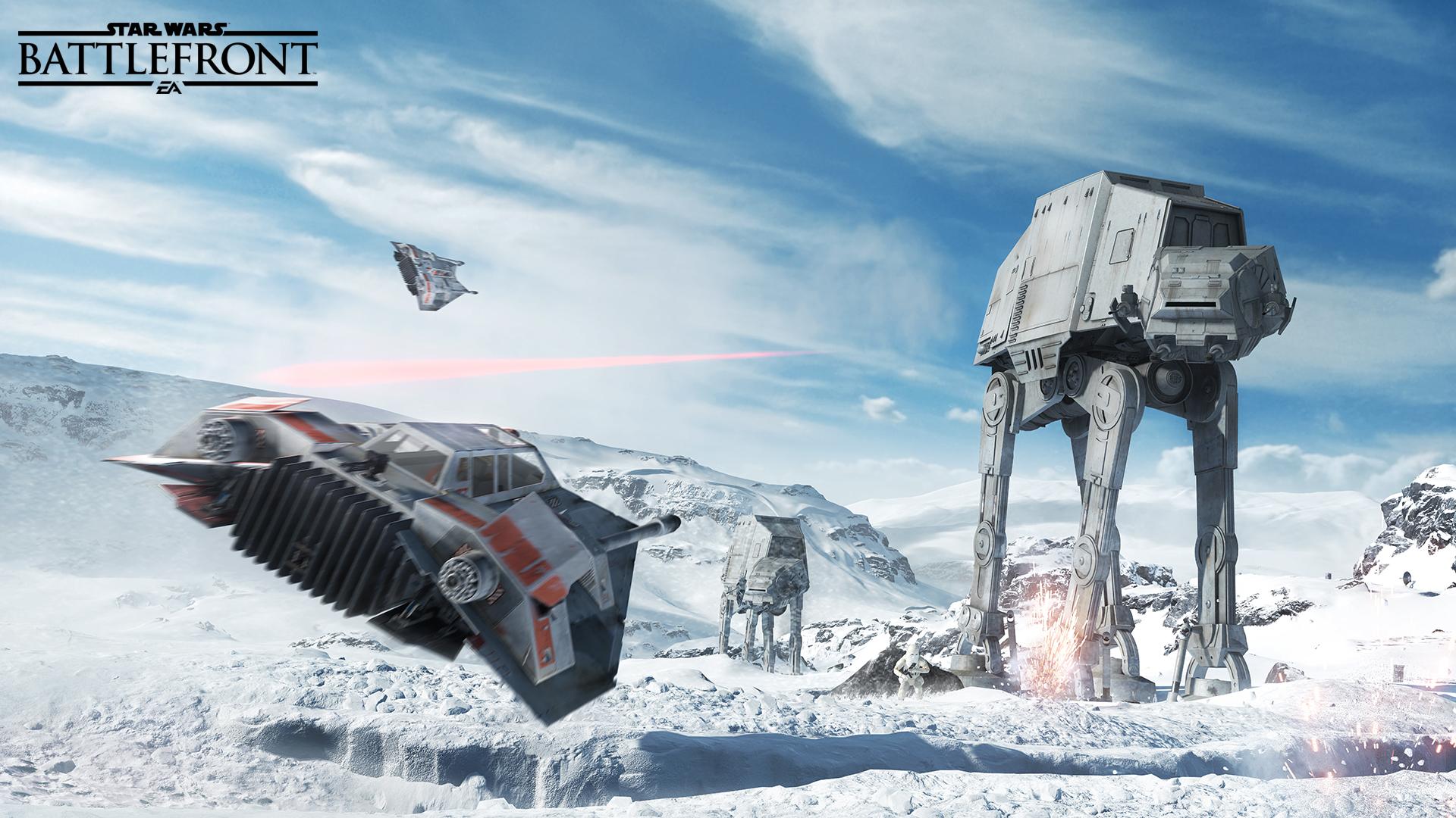 Star Wars Battlefront. Hoth snowspeeder versus AT-AT